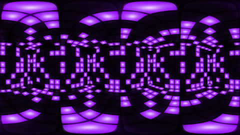 360 VR Purple disco nightclub dance floor wall light grid background vj loop Animation