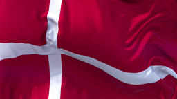 Danmark Flag in Slow Motion Smooth blowing in wind seamless loop Background Animation