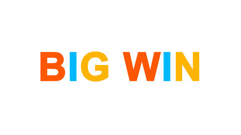 common expression BIG WIN from letters of different colors appears behind small Animation