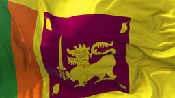 Sri Lanka Flag in Slow Motion Smooth blowing in wind seamless loop Background Animation