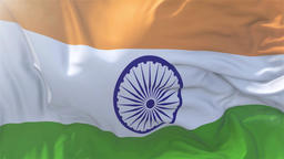 India Flag in Slow Motion Smooth blowing in wind seamless loop Background Animation