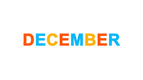 name of the month DECEMBER from letters of different colors appears behind small Animation