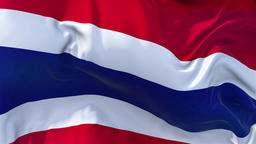 Thailand Flag in Slow Motion Smooth blowing in wind seamless loop Background Animation
