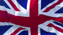 UK Flag in Slow Motion Smooth blowing in wind seamless loop Background Animation