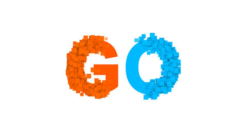 text GO from letters of different colors appears behind small squares. Then Animation