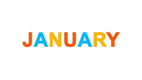 name of the month JANUARY from letters of different colors appears behind small Animation