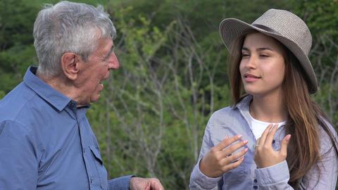 C0981 elderly hispanic man telling a story Footage