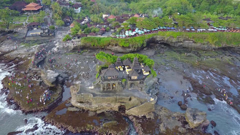 Tanah lot temple, Bali island (Aerial drone view) Footage