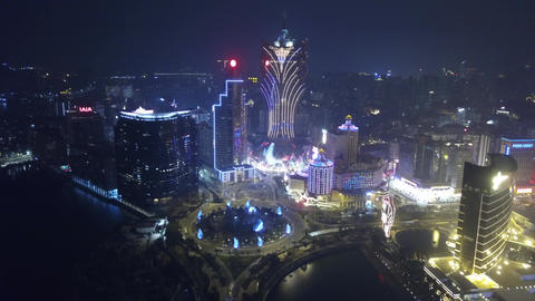 Grand Lisboa Hotel Macau, night view, aerial view Live Action