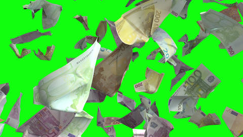 Falling Euro banknotes in Chroma Key 4K Loopable Animation