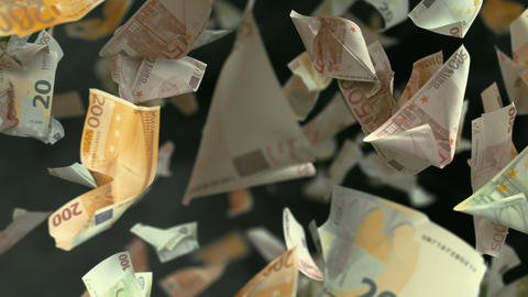 Falling Euro banknotes in 4K Loopable Animation