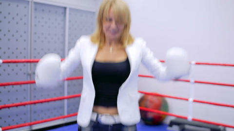 Businesswoman in boxing gloves Footage
