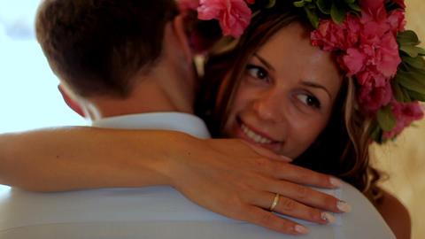 beautiful happy newlyweds gentle loving couple, gentle embraces Live Action
