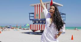 Happy girl on tropical beach posing Footage