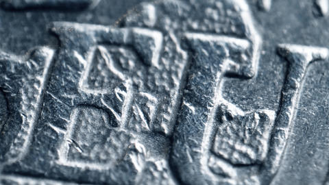 Minted EU letters on Euro coin. Super macro shot Footage