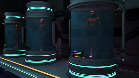 Human Bodies in Hibernation or Cloning Capsules Cinematic 3D Animation 2 Animation