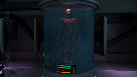 Human Body in Cloning Capsule Cinematic 3D Animation 2, Stock Animation