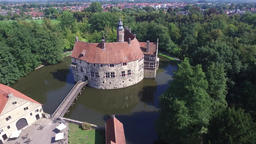 Aerial view of the medieval castle Vischering in Luedinghausen, Germany Footage