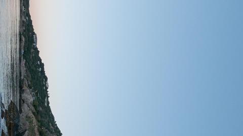 Vertical video. Mount Kush-Kaya, Laspi Bay, Crimea. Fixed distortion. Time Lapse Footage