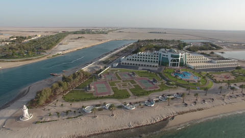 Beach front hotels in Abu Dhabi. Hotel Mirfa (United Arab Emirates) aerial Live Action
