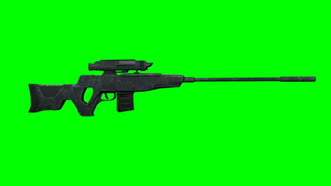 Sniper Hunter Rifle Rotating on GreenScreen 3D Animation Animation