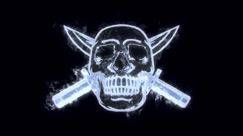 White Silver Burning Skull with Knife Animated Logo Loopable V2 Animation