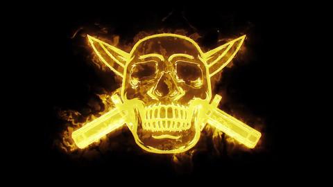 Gold Burning Skull with Knife Animated Logo Loopable V2 Animation