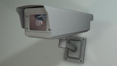 Bank Counting Money Security Camera Checking the Area Closeup 3D Animation 1 Animation