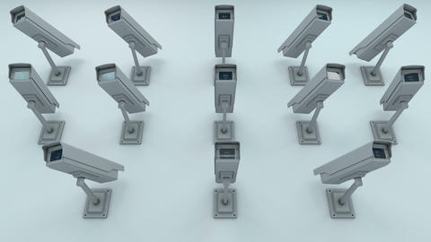 Many Security Cameras Looking onto the Viewer 3D Animation 1 Animation