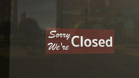 Closed Sign on Shop Restaurant Entrance 1 Stock Video Footage