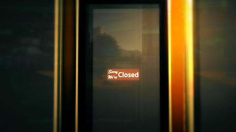 Closed Sign on Shop Restaurant Entrance 3 Stock Video Footage