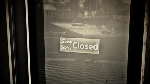 Closed Sign on Shop Restaurant Entrance Vintage 2 Animation