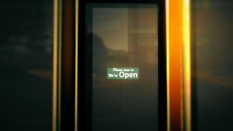 Open Sign on Shop Restaurant Entrance 3 Animation