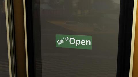 Open Sign on Shop Restaurant Entrance 5 Animation