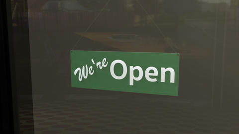 Open Sign on Shop Restaurant Entrance 5 Stock Video Footage