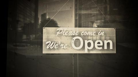 Open Sign on Shop Restaurant Entrance Vintage 1 Animation