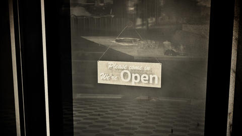 Open Sign on Shop Restaurant Entrance Vintage 2 Animation