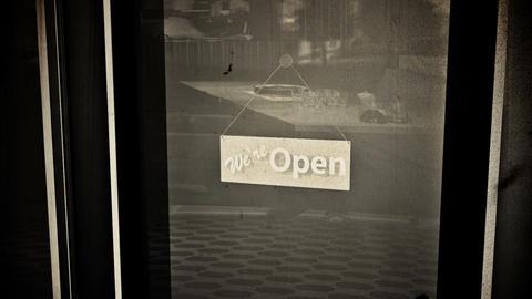 Open Sign on Shop Restaurant Entrance Vintage 4 Animation