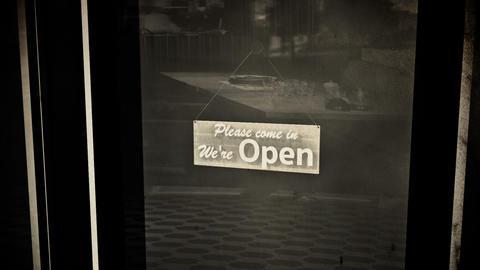 Open Sign on Shop Restaurant Entrance Vintage 6 Animation