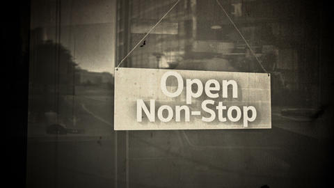 Open Sign on Shop Restaurant Entrance Vintage 7 Stock Video Footage