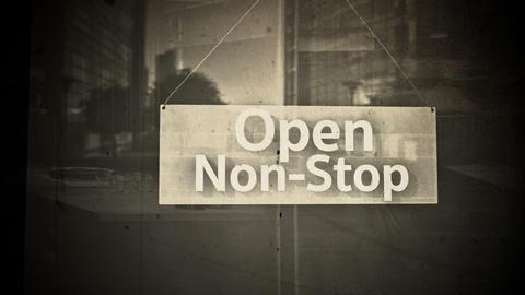 Open Sign on Shop Restaurant Entrance Vintage 7 Animation