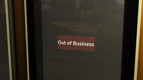 Out Of Business Sign on Shop Restaurant Entrance 2 Animation