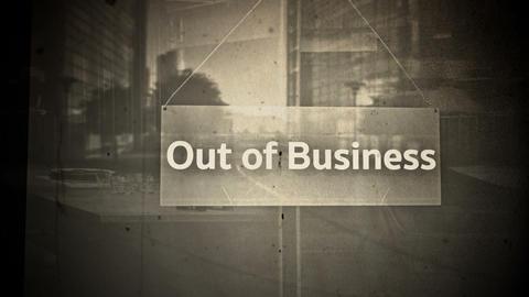 Out Of Business Sign on Shop Restaurant Entrance Vintage 1 Animation