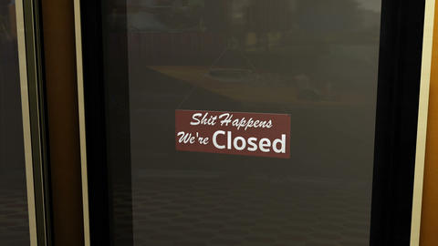 Rude Closed Sign on Shop Restaurant Entrance 2 Animation