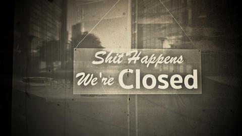 Rude Closed Sign on Shop Restaurant Entrance Vintage 1 Animation