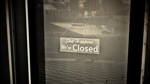 Rude Closed Sign on Shop Restaurant Entrance Vintage 2 Animation