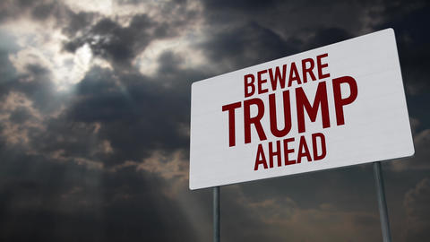4K Beware Trump Ahead Warning Sign under Clouds Timelapse Animation
