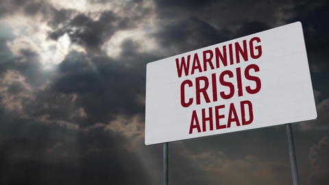 4K Crisis Ahead Warning Sign under Clouds Timelapse Animation