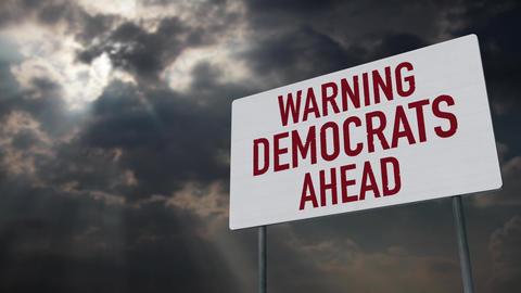 4K Democrats Warning Sign under Clouds Timelapse Animation