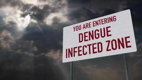 4K Dengue Warning Sign under Clouds Timelapse Animation